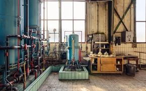 Picture windows, sunlight, abandoned, machine room, steel tanks