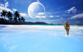 Picture sea, girl, planet, The sky, surf, gait.