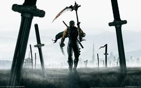 Wallpaper field, warrior, art, braid, battle, heroes, ninja, cloak, swords, ninja gaiden 2, katana