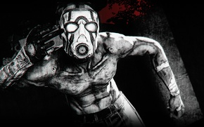 Picture Blood, Mask, Borderlands, Black and White, Psycho, Crazy