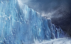 Wallpaper winter, people, storm, glacier, europa