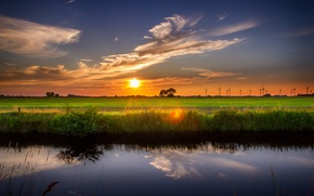 Picture field, the sky, sunset, lake, sky, field, Sunset, lake