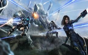 Picture weapons, rocks, art, armor, battle, shepard, Mass Effect, shots, ashley, javik, AVIC, Ashley, Salvador Trakal