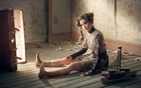 Wallpaper doll, on the floor, hairstyle, image, suitcase, sitting, dress, model, pose, light, actress, Robert Ascroft, ...