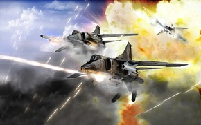Picture Sky, Mig-27, Еxplosion, Fighter-Bomber, Dogfight