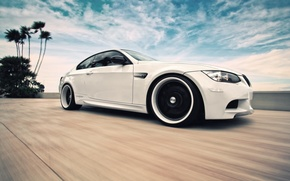 Picture white, the sky, clouds, BMW, speed, BMW, white, E92