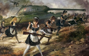 Wallpaper weapons, girls, anime, art, the maid, upscale, tank is-3, hjl, rifle PPSH-41, the carbine Mosin