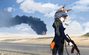 Picture girl, weapons, fire, smoke, machine, animal ears