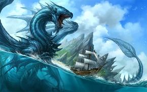Picture sea, water, dragon, ship, fantasy, art