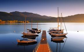 Picture landscape, bridge, lake, boats