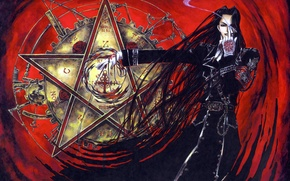 Picture blood, mystic, elected, spell, pentagram, military uniform, Trinity Blood, the black knight, black magic, a …