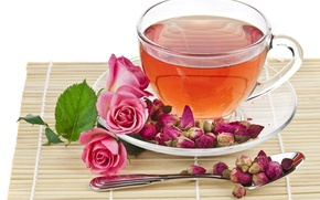 Picture tea, rose, spoon, Cup