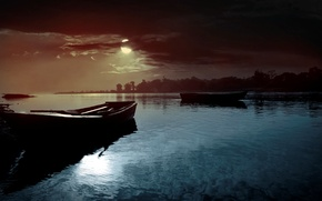 Picture the sky, water, clouds, landscape, night, nature, river, the moon, boats