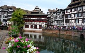 Wallpaper summer, the city, river, France, home, Strasbourg