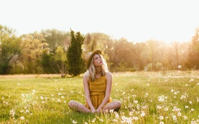 Picture field, girl, hat, dandelions, sitting