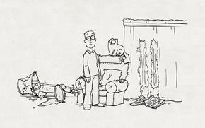 Picture cat, mess, figure, lamp, chair, curtains, Kote, simon's cat