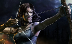 Picture bow, art, arrow, Tomb Raider, Lara Croft, Lara Croft