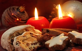 Wallpaper holiday, new year, food, candles, cookies, sweets, the scenery, nuts, cinnamon, happy new year, christmas ...