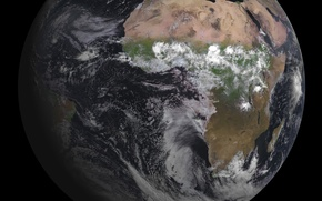 Picture clouds, Earth, continents, Africa, oceans