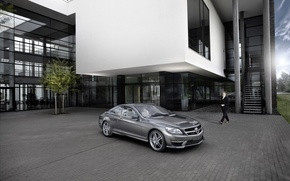 Wallpaper the building, silver, Playground, Mercedes-Benz CL63 AMG 2011