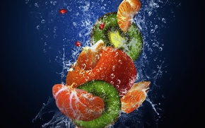 Picture water, drops, squirt, freshness, kiwi, fruit, fresh, water, drops, garnet, kiwi, Mandarin, mandarin, pomegranate, spray, …