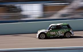 Picture Auto, Mini, Sport, Green, Machine, Race, Mini Cooper, Side view, Mini Cooper, In Motion