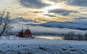 Picture sea, clouds, mountains, Norway, winter. snow