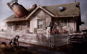 Picture machine, house, the fence, zombies, barrel, postapokalipsis, Say welcom to your new neighbors, nuclear missile