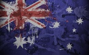 Wallpaper flag, Australia, texture, paint, squirt