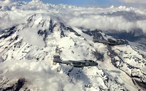 Picture clouds, flight, mountains, the volcano, aircraft, Grumman, deck, EA-6B, Rainier