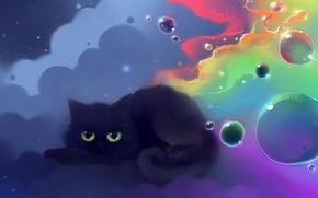 Wallpaper cat, color, balls, figure, nyan, artist apofiss
