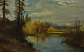Wallpaper landscape, picture, Albert Bierstadt, The source on Lake Tahoe