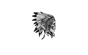 Wallpaper style, feathers, skull