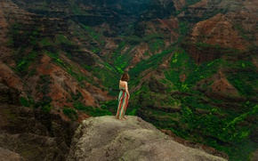 Picture girl, landscape, mountains, nature