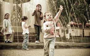 Picture children, fountain, Park, fun