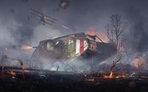 Wallpaper war, tank, art, tank, DICE, Mark V, Battlefield 1, Landship