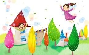 Picture trees, joy, fantasy, foliage, girls, home, flight, baby Wallpaper