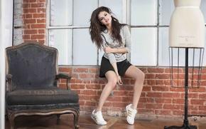 Picture girl, chair, singer, celebrity, sneakers, Selena Gomez, Selena Gomez