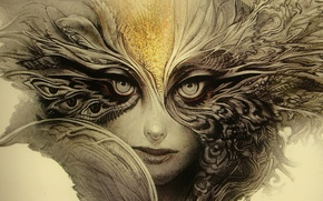 Picture woman, eyes, feathers, look