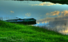 Picture grass, boat, Water