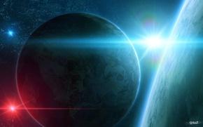 Picture star, planet, satellite, art, QAuZ