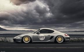 Picture Porsche, Cayman, Turbo, silvery, profile