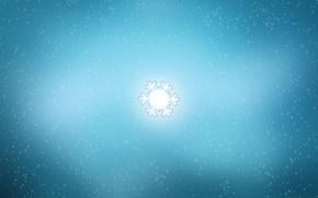 Wallpaper minimalism, snowflake, snow, glow