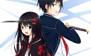Picture girl, weapons, katana, anime, art, form, guy, students, ray-en