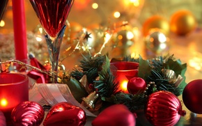 Picture balls, red, holiday, Christmas, Candles, New year