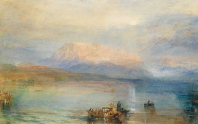 Picture landscape, mountains, lake, people, boat, picture, Bay, watercolor, Bay, William Turner, The Red Rigi