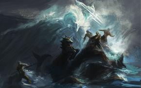 Picture sea, wave, storm, people, the ocean, rocks, storm, art, unicorn, Trident, battle, Poseidon, shuyinnosi