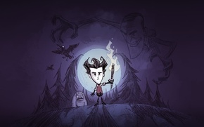 Wallpaper Look, The moon, Forest, Shadow, Wilson, Torch, Sven, Klei Entertainment, Scientist, Crows, The owner, Dont ...