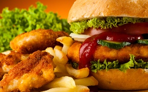 Picture hamburger, French fries, Fast food, Chicken Nuggets