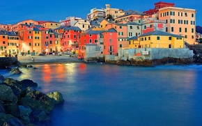 Picture night, lights, home, Bay, Italy, Genoa, Boccadasse